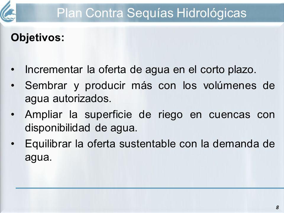 Plan Contra Sequías Hidrológicas 8 Objetivos: Incrementar la oferta de agua en el corto plazo. Sembrar y producir más con los volúmenes de agua autori