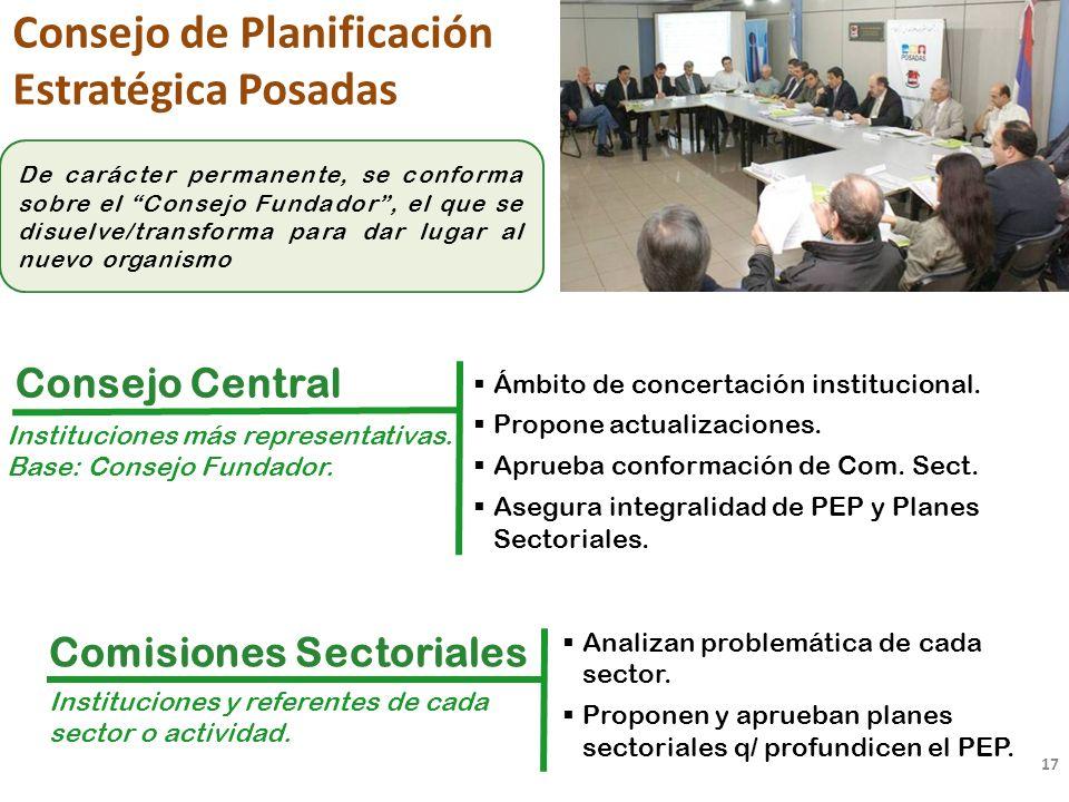17 Consejo de Planificación Estratégica Posadas Instituciones más representativas.