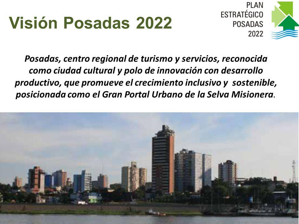 Posadas, centro regional de turismo y servicios, reconocida como ciudad cultural y polo de innovación con desarrollo productivo, que promueve el crecimiento inclusivo y sostenible, posicionada como el Gran Portal Urbano de la Selva Misionera.