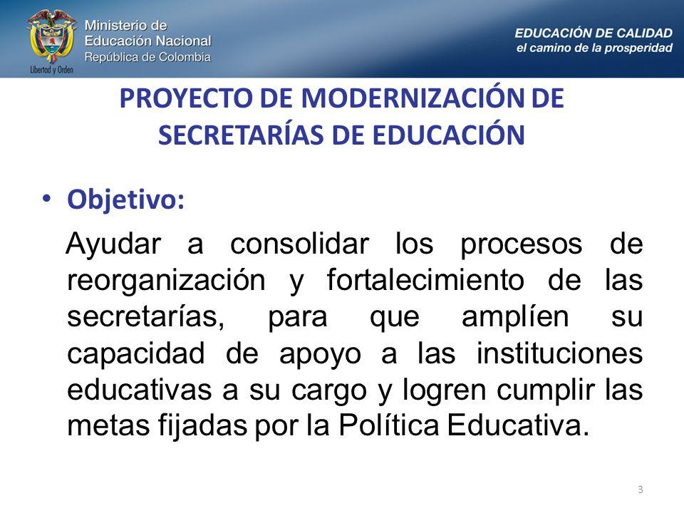 Objetivo: Ayudar a consolidar los procesos de reorganización y fortalecimiento de las secretarías, para que amplíen su capacidad de apoyo a las instituciones educativas a su cargo y logren cumplir las metas fijadas por la Política Educativa.