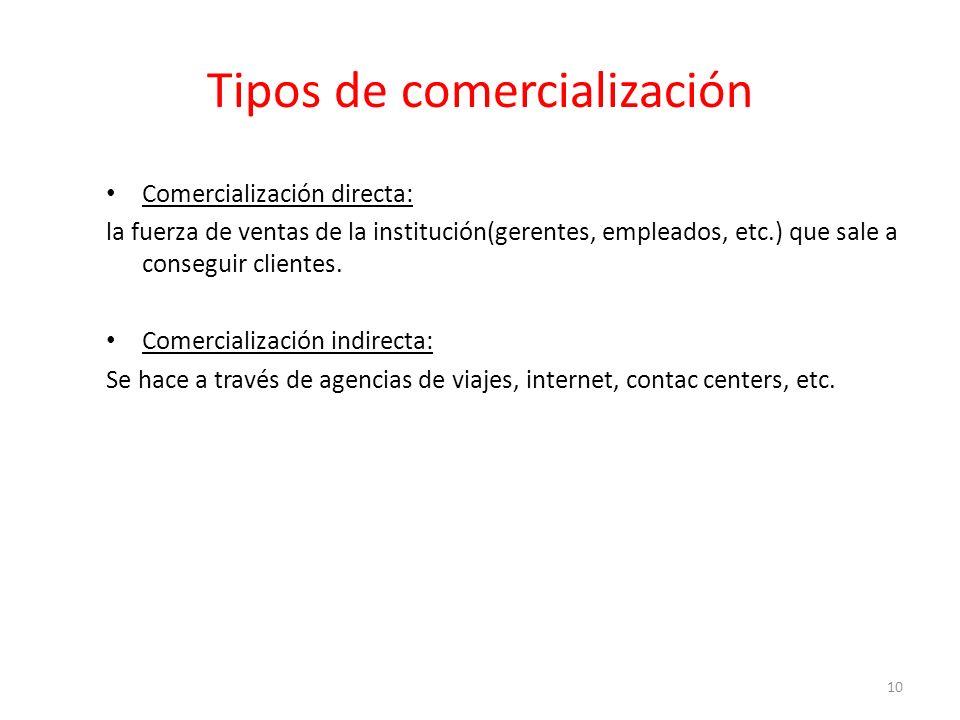 Tipos de comercialización Comercialización directa: la fuerza de ventas de la institución(gerentes, empleados, etc.) que sale a conseguir clientes.