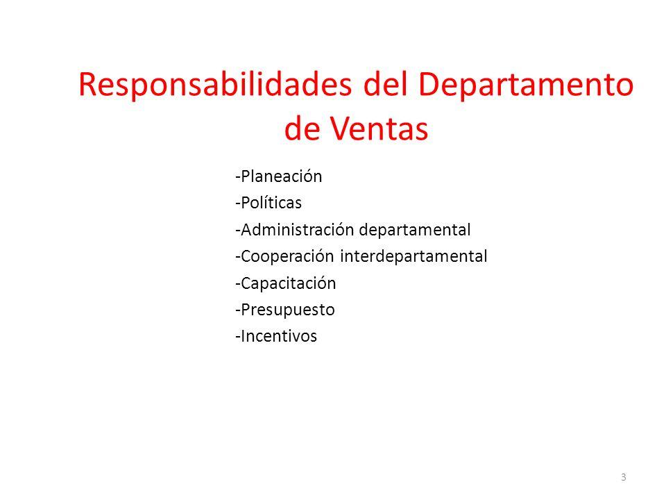 -Planeación -Políticas -Administración departamental -Cooperación interdepartamental -Capacitación -Presupuesto -Incentivos Responsabilidades del Departamento de Ventas 3
