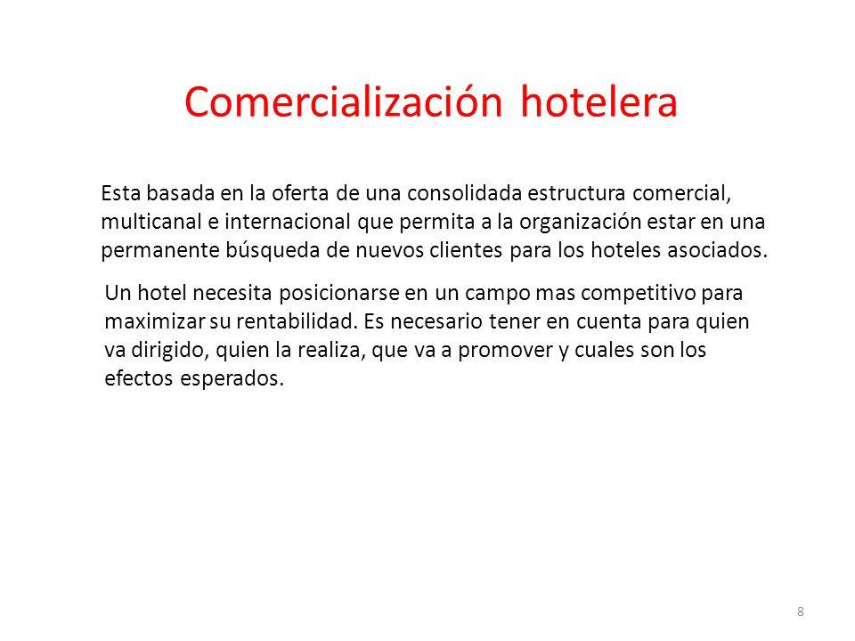 Esta basada en la oferta de una consolidada estructura comercial, multicanal e internacional que permita a la organización estar en una permanente búsqueda de nuevos clientes para los hoteles asociados.