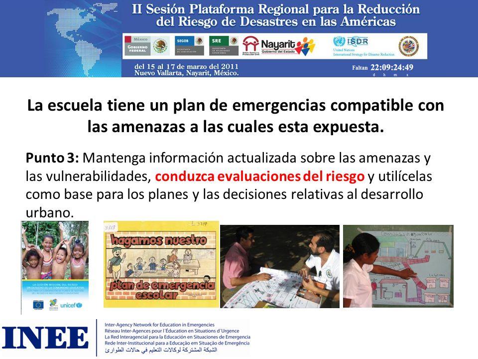 El plan local de emergencia esta conectado con los planes escolares de emergencia Punto 1: Establezca la organización y la coordinación necesarias para comprender y reducir el riesgo de desastre dentro de los gobiernos locales.