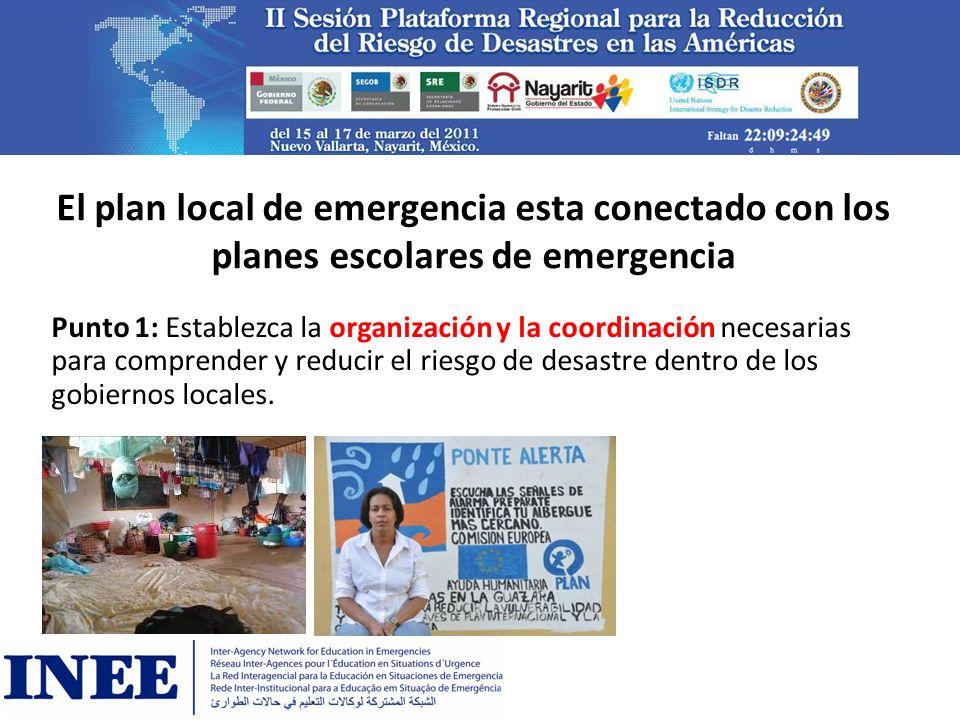 El plan local de emergencia esta conectado con los planes escolares de emergencia Punto 1: Establezca la organización y la coordinación necesarias par