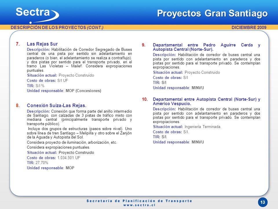 DICIEMBRE 2009 13 7.Las Rejas Sur Descripción: Habilitación de Corredor Segregado de Buses central de una pista por sentido sin adelantamiento en para
