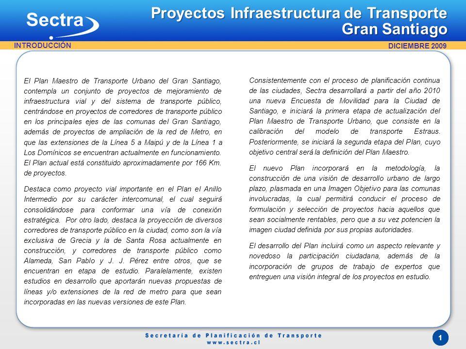 1 El Plan Maestro de Transporte Urbano del Gran Santiago, contempla un conjunto de proyectos de mejoramiento de infraestructura vial y del sistema de