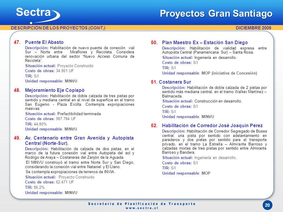 DICIEMBRE 2009 20 47.Puente El Abasto Descripción: Habilitación de nuevo puente de conexión vial Sur – Norte entre Miraflores y Recoleta. Considera re