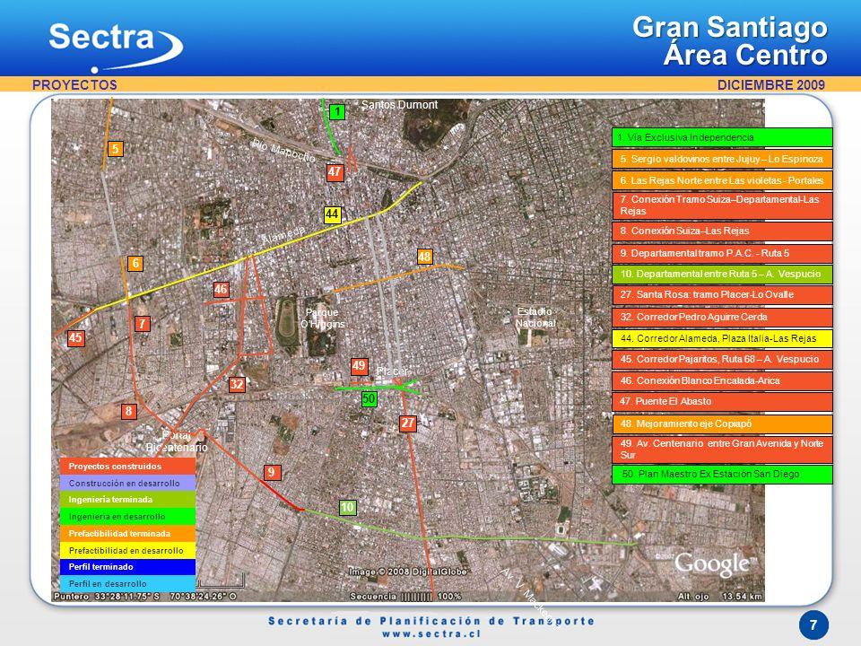 DICIEMBRE 2009 7 Gran Santiago Área Centro Proyectos construidos Construcción en desarrollo Ingeniería terminada Ingeniería en desarrollo Prefactibili