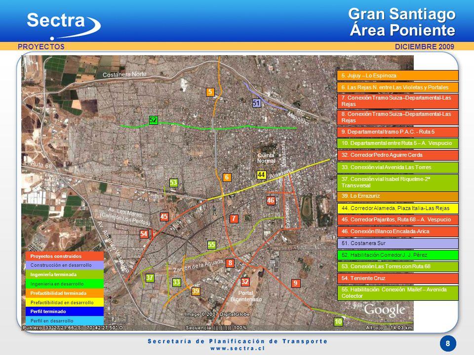 DICIEMBRE 2009 8 Gran Santiago Área Poniente Proyectos construidos Construcción en desarrollo Ingeniería terminada Ingeniería en desarrollo Prefactibi