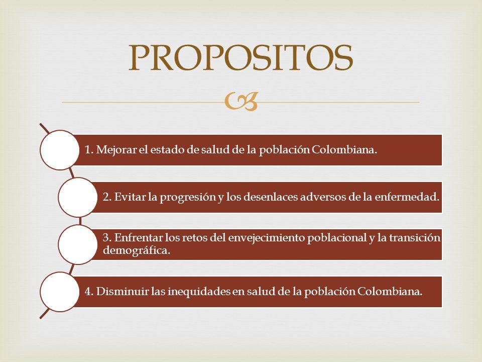 1. Mejorar el estado de salud de la población Colombiana. 2. Evitar la progresión y los desenlaces adversos de la enfermedad. 3. Enfrentar los retos d