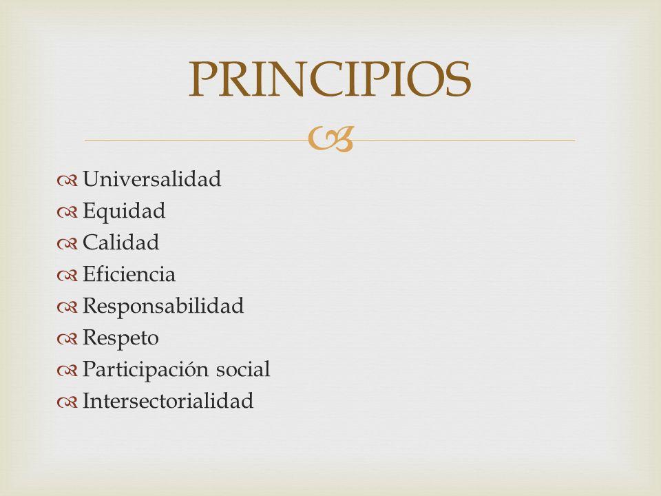 PRINCIPIOS Universalidad Equidad Calidad Eficiencia Responsabilidad Respeto Participación social Intersectorialidad