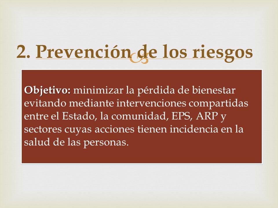 Conjunto de acciones individuales y colectivas en salud orientadas a la reducción de los riesgos de enfermar o morir. 2. Prevención de los riesgos Obj