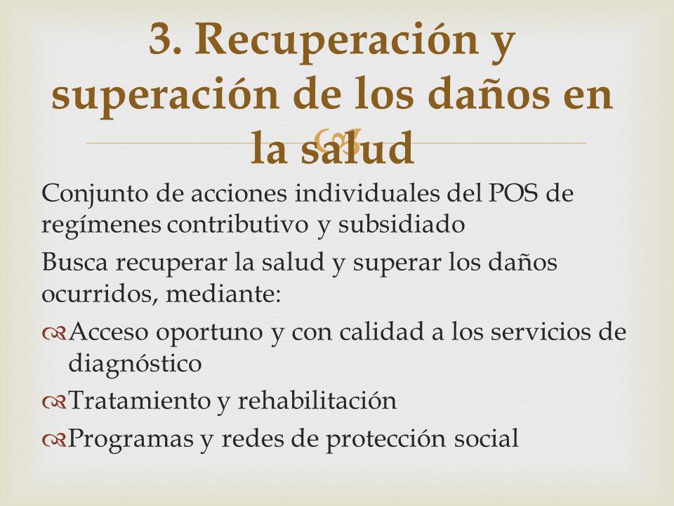 Conjunto de acciones individuales del POS de regímenes contributivo y subsidiado Busca recuperar la salud y superar los daños ocurridos, mediante: Acc