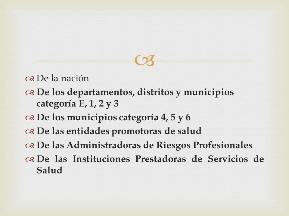 De la nación De los departamentos, distritos y municipios categoría E, 1, 2 y 3 De los municipios categoría 4, 5 y 6 De las entidades promotoras de sa