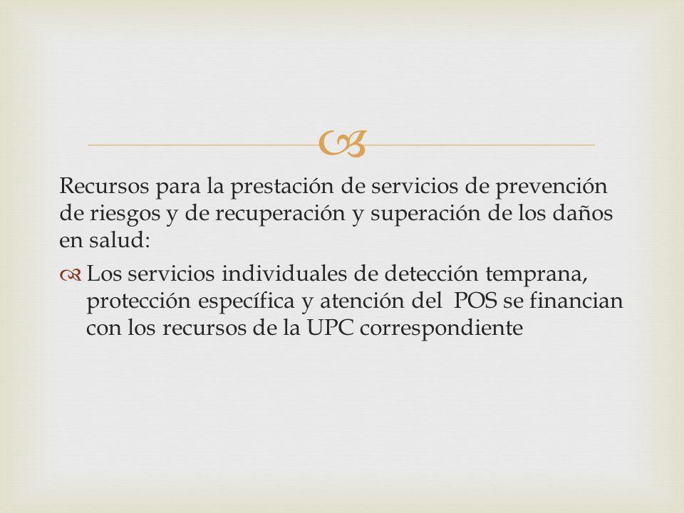 Recursos para la prestación de servicios de prevención de riesgos y de recuperación y superación de los daños en salud: Los servicios individuales de