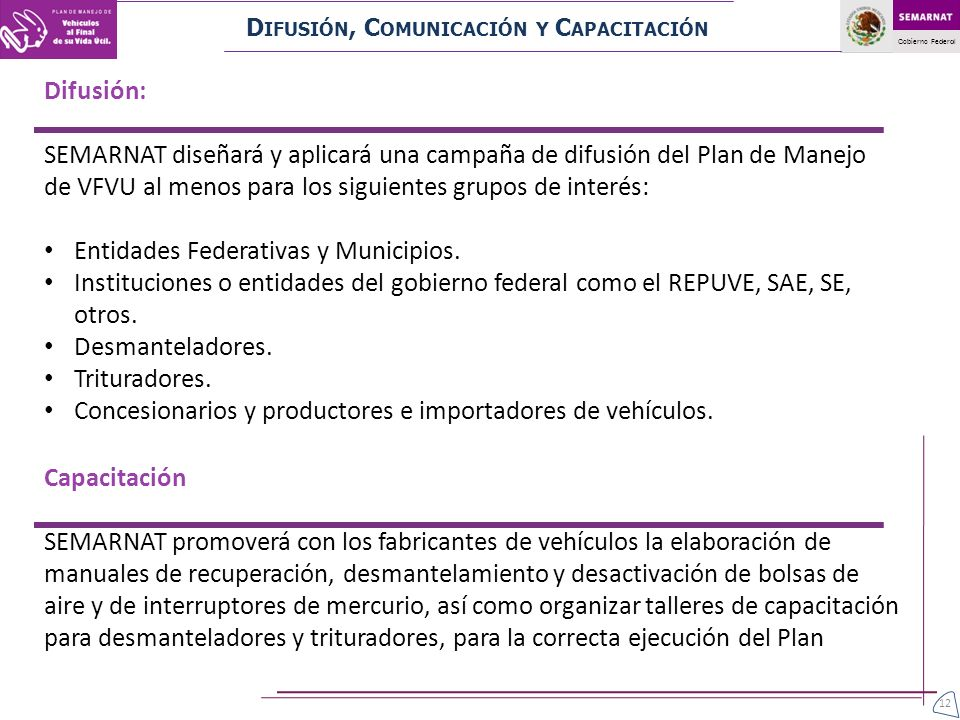 Gobierno Federal D IFUSIÓN, C OMUNICACIÓN Y C APACITACIÓN Difusión: SEMARNAT diseñará y aplicará una campaña de difusión del Plan de Manejo de VFVU al