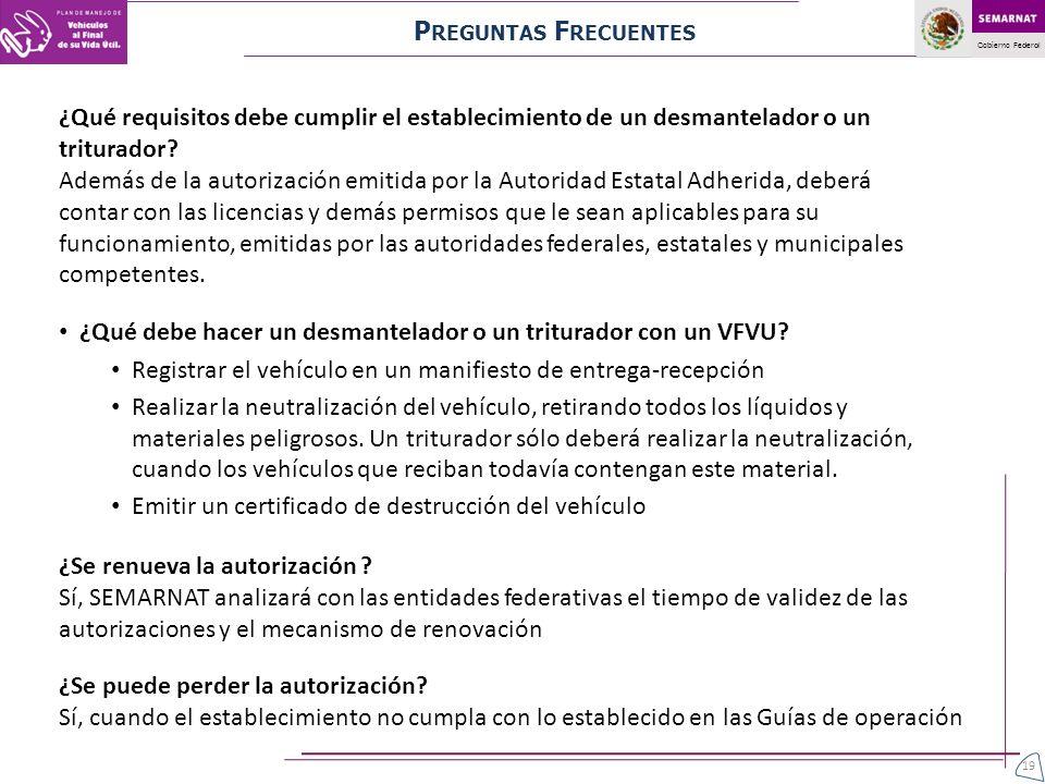 Gobierno Federal ¿Qué requisitos debe cumplir el establecimiento de un desmantelador o un triturador? Además de la autorización emitida por la Autorid
