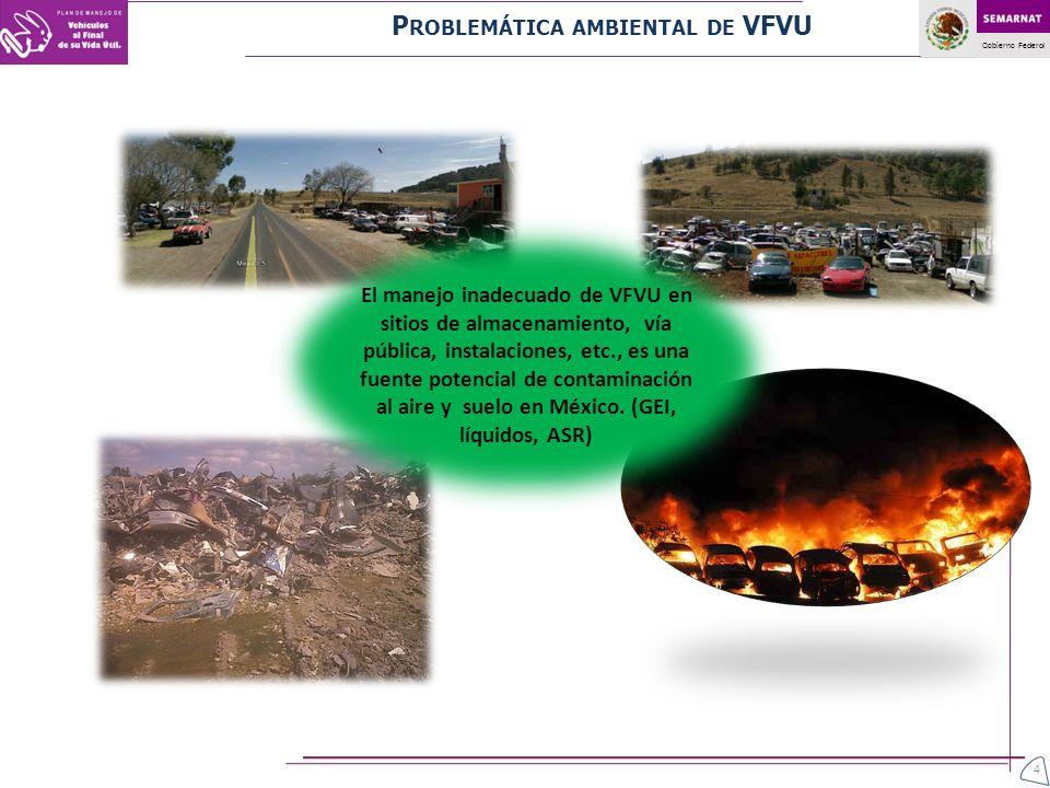 Gobierno Federal 4 El manejo inadecuado de VFVU en sitios de almacenamiento, vía pública, instalaciones, etc., es una fuente potencial de contaminació