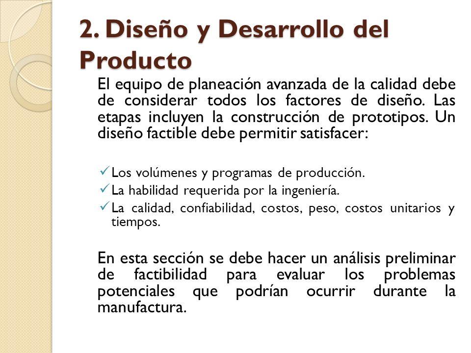 2. Diseño y Desarrollo del Producto El equipo de planeación avanzada de la calidad debe de considerar todos los factores de diseño. Las etapas incluye