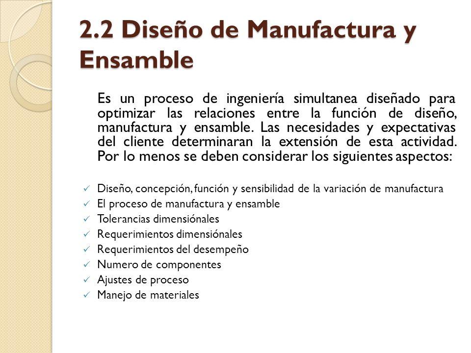 2.2 Diseño de Manufactura y Ensamble Es un proceso de ingeniería simultanea diseñado para optimizar las relaciones entre la función de diseño, manufac