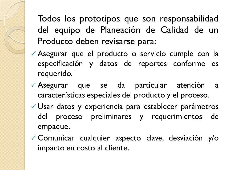 Todos los prototipos que son responsabilidad del equipo de Planeación de Calidad de un Producto deben revisarse para: Asegurar que el producto o servi