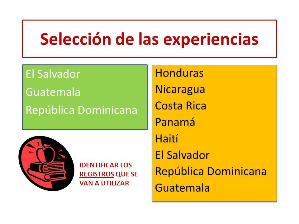 Selección de las experiencias El Salvador Guatemala República Dominicana IDENTIFICAR LOS REGISTROS QUE SE VAN A UTILIZAR