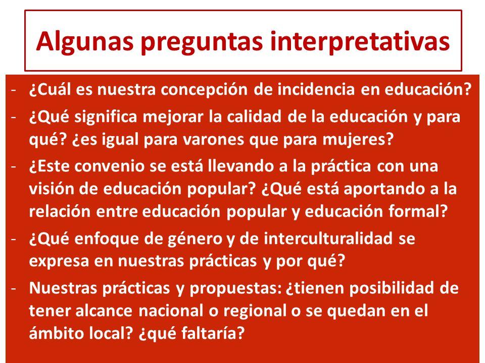 Algunas preguntas interpretativas -¿Cuál es nuestra concepción de incidencia en educación? -¿Qué significa mejorar la calidad de la educación y para q