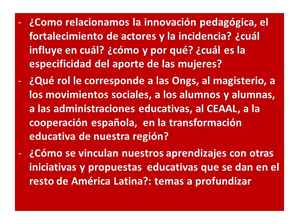 -¿Como relacionamos la innovación pedagógica, el fortalecimiento de actores y la incidencia? ¿cuál influye en cuál? ¿cómo y por qué? ¿cuál es la espec