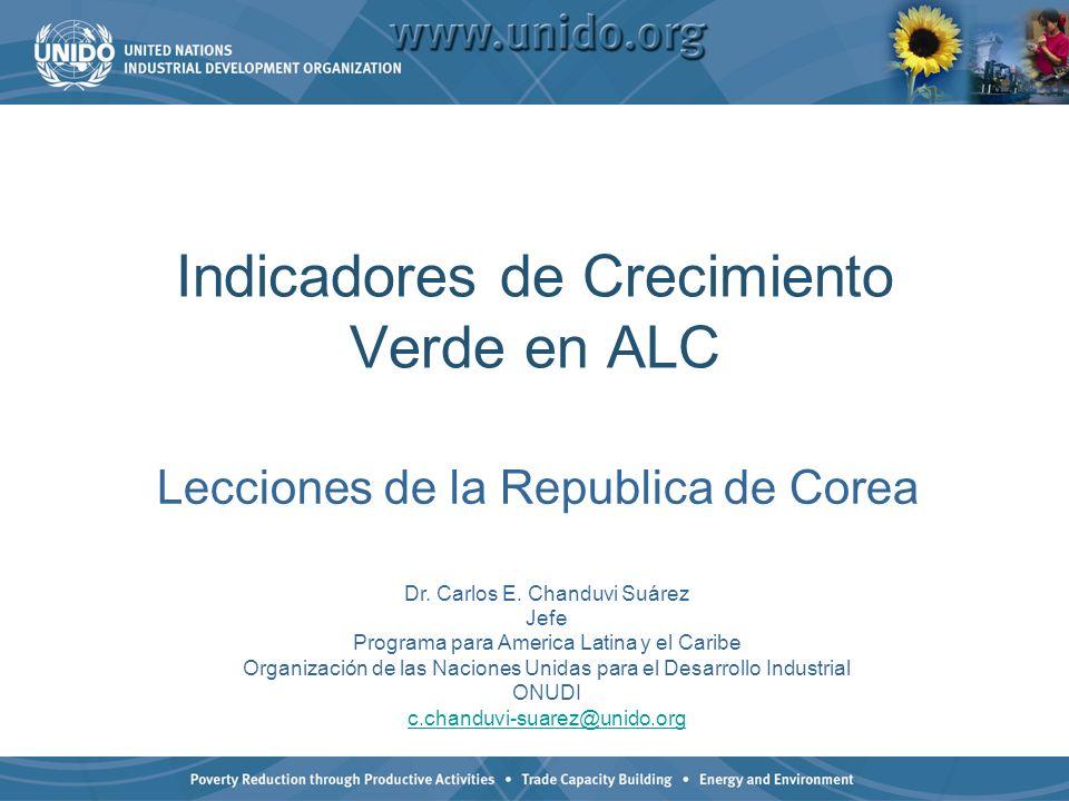 Indicadores de Crecimiento Verde en ALC Lecciones de la Republica de Corea Dr. Carlos E. Chanduvi Suárez Jefe Programa para America Latina y el Caribe