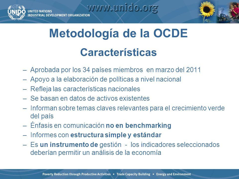 Metodología de la OCDE Características –Aprobada por los 34 países miembros en marzo del 2011 –Apoyo a la elaboración de políticas a nivel nacional –R