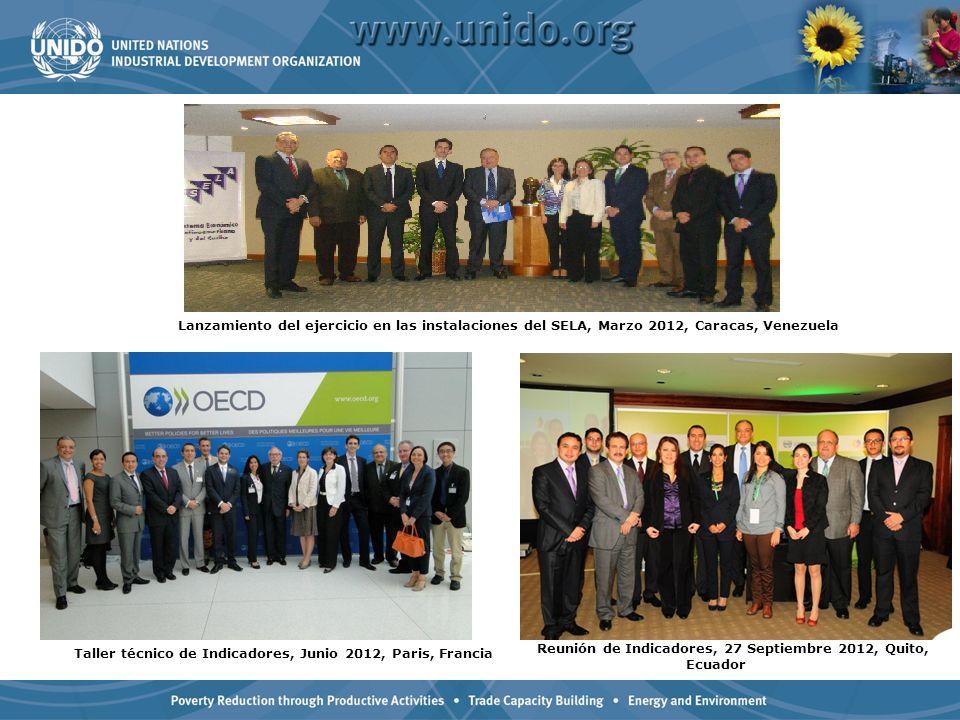 Reunión de Indicadores, 27 Septiembre 2012, Quito, Ecuador Taller técnico de Indicadores, Junio 2012, Paris, Francia Lanzamiento del ejercicio en las