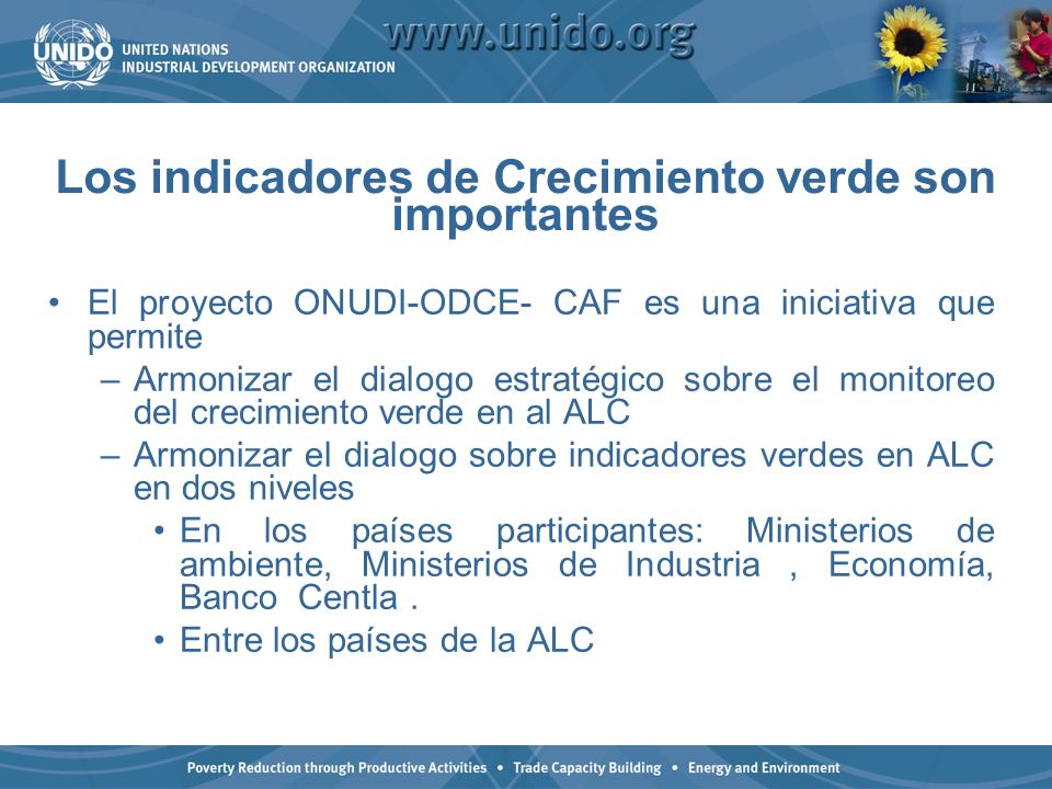 Los indicadores de Crecimiento verde son importantes El proyecto ONUDI-ODCE- CAF es una iniciativa que permite –Armonizar el dialogo estratégico sobre