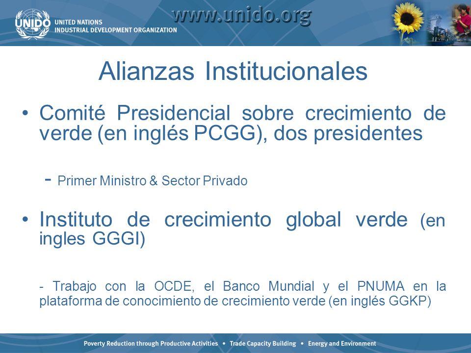 Alianzas Institucionales Comité Presidencial sobre crecimiento de verde (en inglés PCGG), dos presidentes - Primer Ministro & Sector Privado Instituto