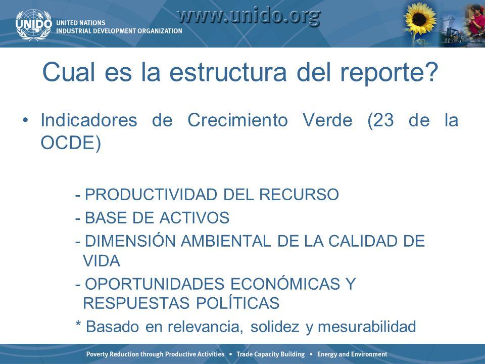 Cual es la estructura del reporte? Indicadores de Crecimiento Verde (23 de la OCDE) - PRODUCTIVIDAD DEL RECURSO - BASE DE ACTIVOS - DIMENSIÓN AMBIENTA