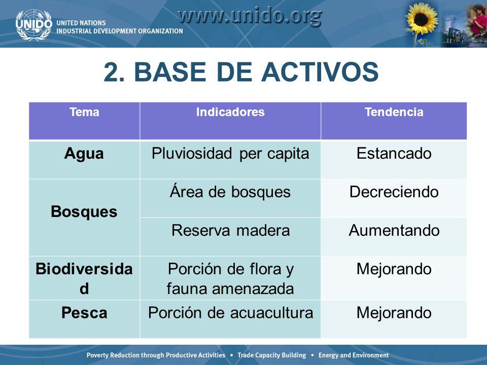 2. BASE DE ACTIVOS TemaIndicadoresTendencia AguaPluviosidad per capitaEstancado Bosques Área de bosquesDecreciendo Reserva maderaAumentando Biodiversi