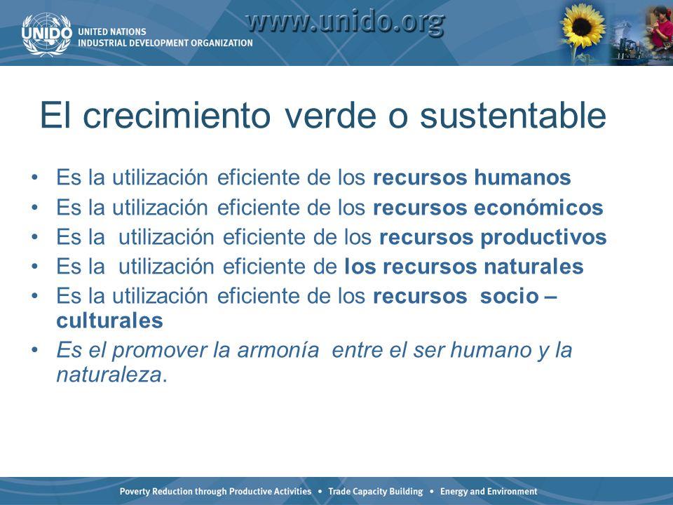 El crecimiento verde o sustentable Es la utilización eficiente de los recursos humanos Es la utilización eficiente de los recursos económicos Es la ut