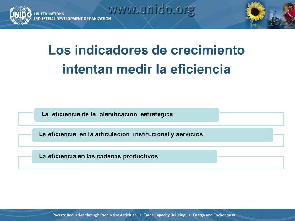 Los indicadores de crecimiento intentan medir la eficiencia La eficiencia de la planificacion estrategicaLa eficiencia en la articulacion instituciona