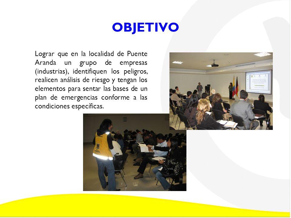 OBJETIVO Lograr que en la localidad de Puente Aranda un grupo de empresas (industrias), identifiquen los peligros, realicen análisis de riesgo y tenga