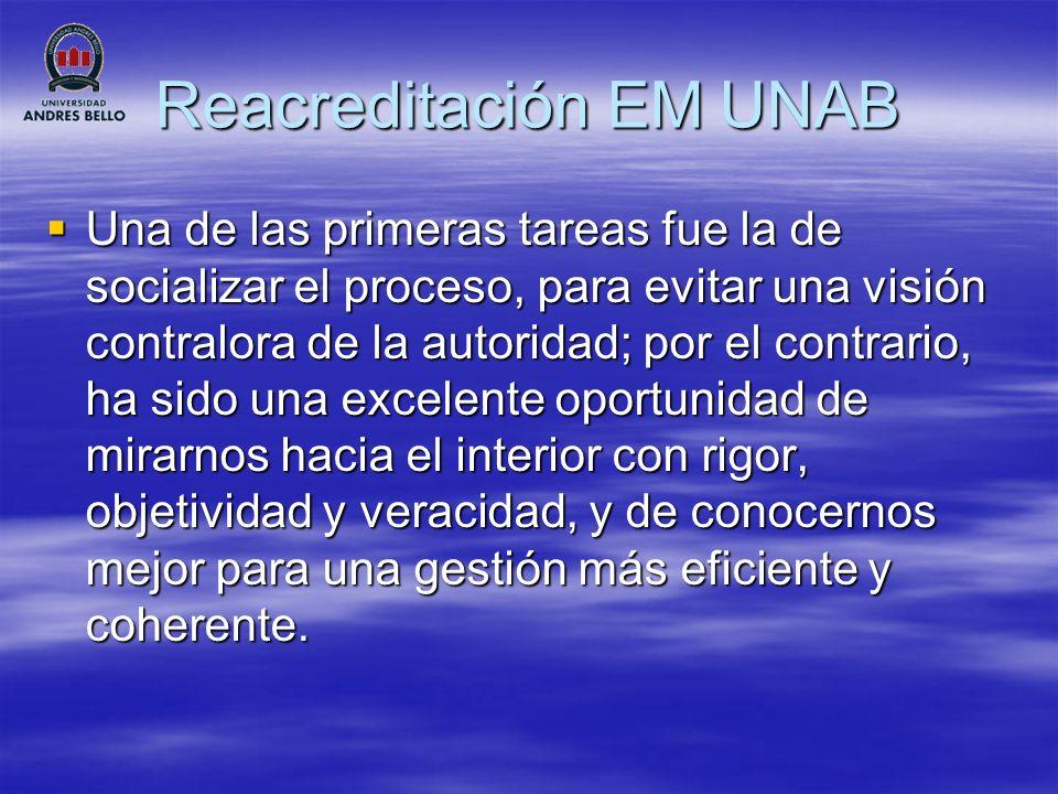 Reacreditación EM UNAB Unidades vinculadas: Hospital Barros Luco, Consultorios Municipalidades de Colina, El Bosque, San Bernardo, San Antonio, CIPAM, Centro Oftalmológico LASER.