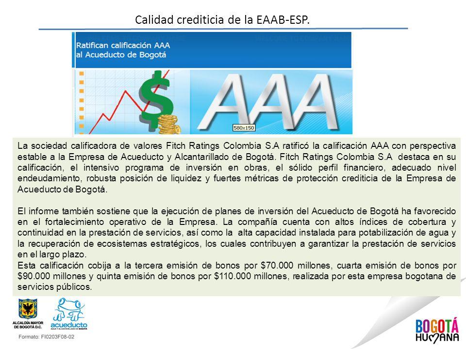 Calidad crediticia de la EAAB-ESP. La sociedad calificadora de valores Fitch Ratings Colombia S.A ratificó la calificación AAA con perspectiva estable