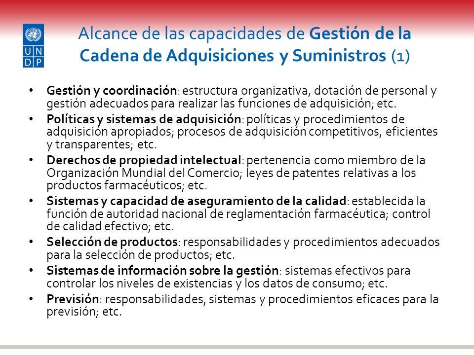 Alcance de las capacidades de Gestión de la Cadena de Adquisiciones y Suministros (1) Gestión y coordinación: estructura organizativa, dotación de per
