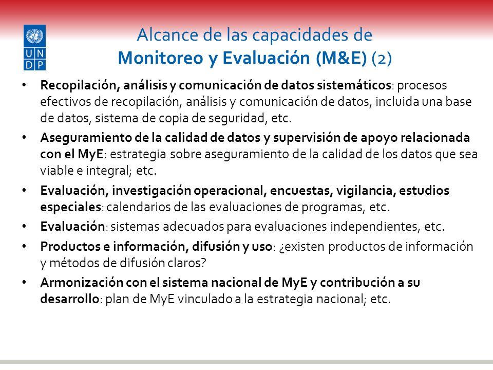 Alcance de las capacidades de Monitoreo y Evaluación (M&E) (2) Recopilación, análisis y comunicación de datos sistemáticos: procesos efectivos de reco