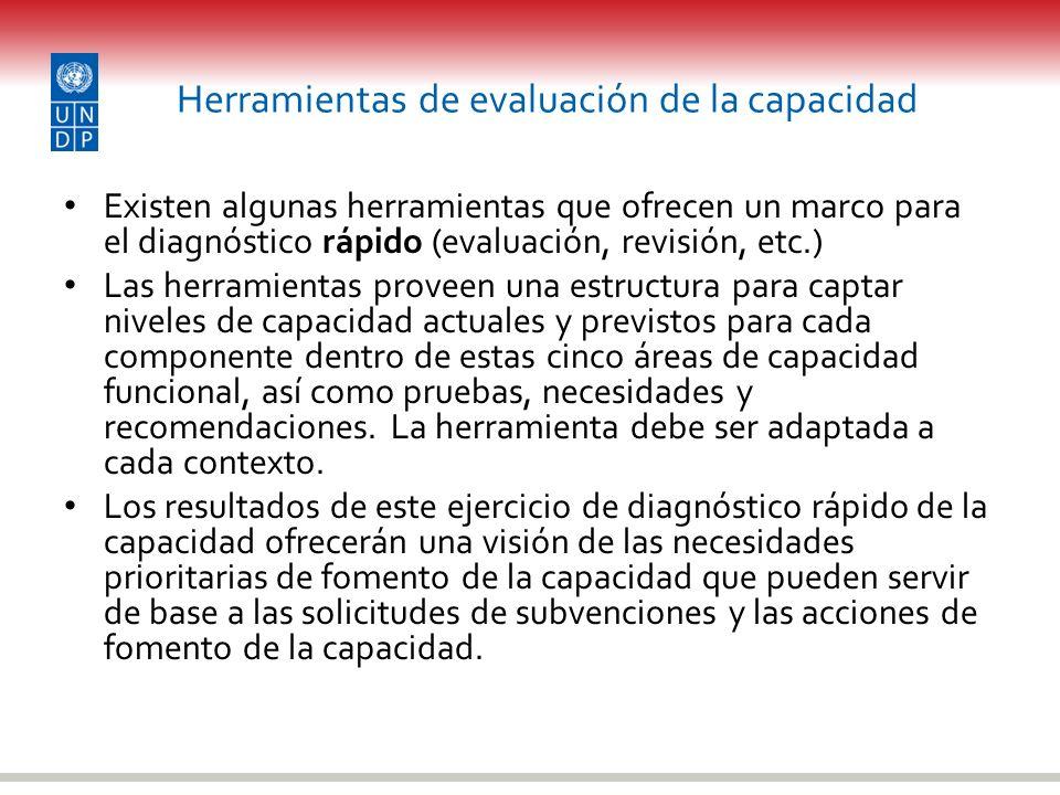 Herramientas de evaluación de la capacidad Existen algunas herramientas que ofrecen un marco para el diagnóstico rápido (evaluación, revisión, etc.) L