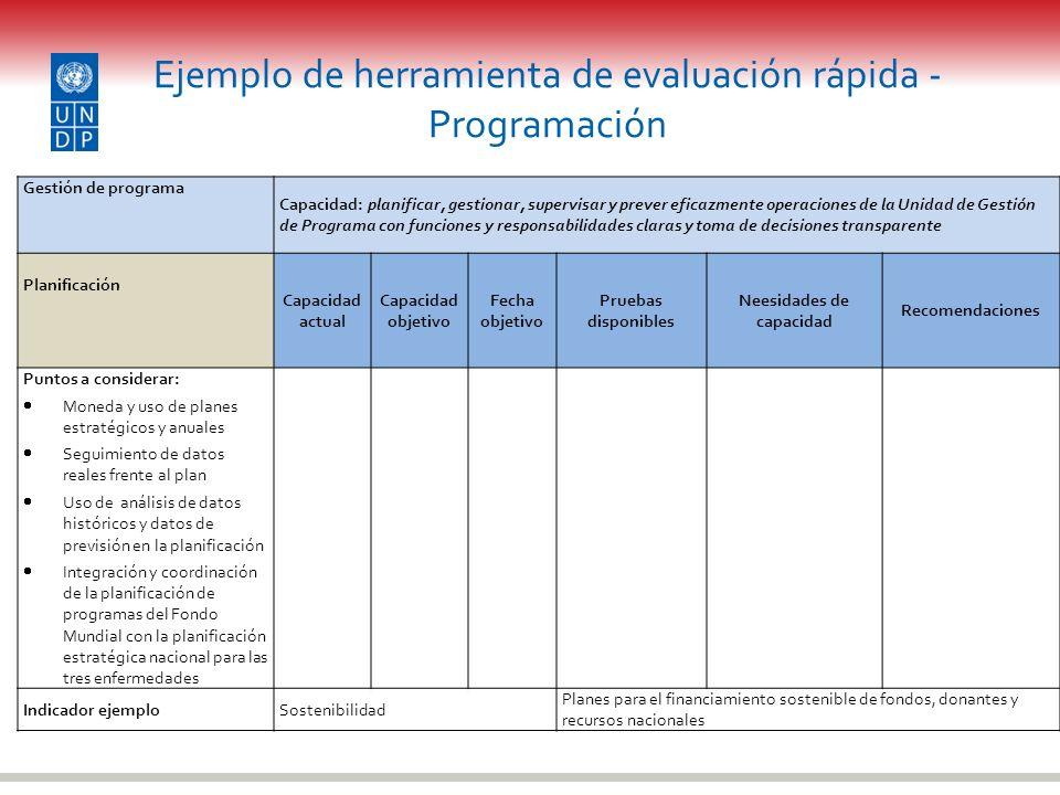 Ejemplo de herramienta de evaluación rápida - Programación Gestión de programa Capacidad: planificar, gestionar, supervisar y prever eficazmente opera