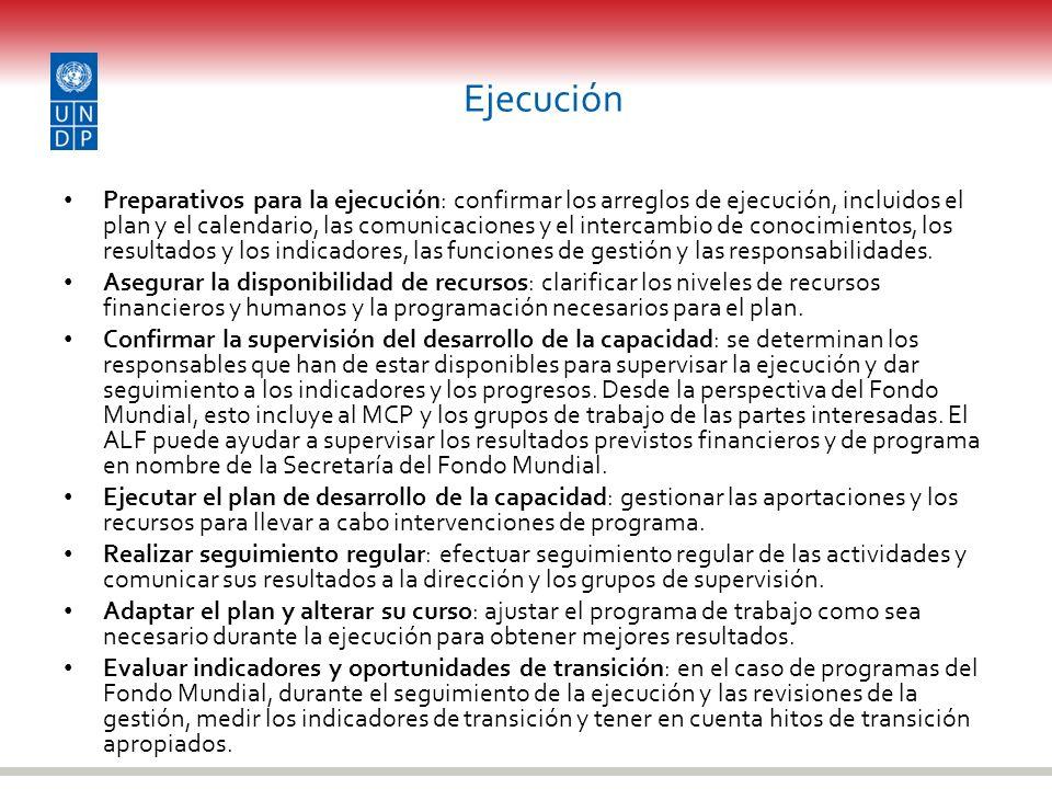 Ejecución Preparativos para la ejecución: confirmar los arreglos de ejecución, incluidos el plan y el calendario, las comunicaciones y el intercambio