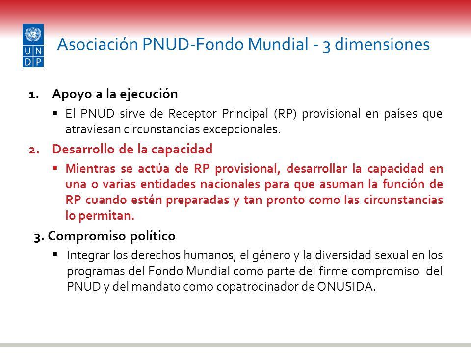 Asociación PNUD-Fondo Mundial - 3 dimensiones 1.Apoyo a la ejecución El PNUD sirve de Receptor Principal (RP) provisional en países que atraviesan cir