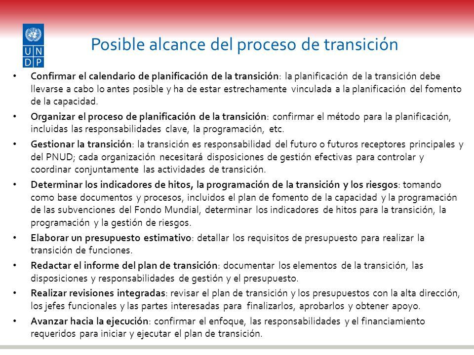 Posible alcance del proceso de transición Confirmar el calendario de planificación de la transición: la planificación de la transición debe llevarse a