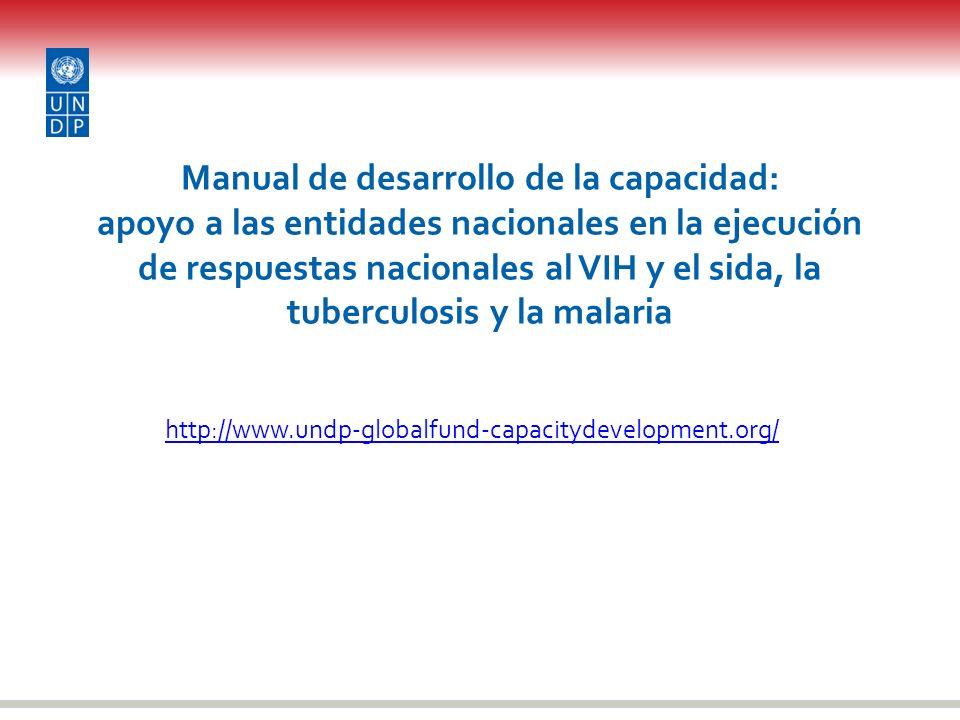 Manual de desarrollo de la capacidad: apoyo a las entidades nacionales en la ejecución de respuestas nacionales al VIH y el sida, la tuberculosis y la