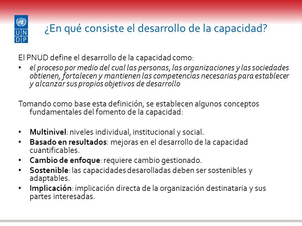 ¿En qué consiste el desarrollo de la capacidad? El PNUD define el desarrollo de la capacidad como: el proceso por medio del cual las personas, las org